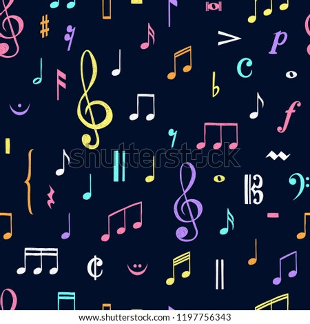 Music notes pattern. Music doodles background. Piano keys. Treble clef. Hand drawn effect vector. G-clef. Scribbles. Audio. Piano. Symphony. Song. Sing. Melody. Classic music.