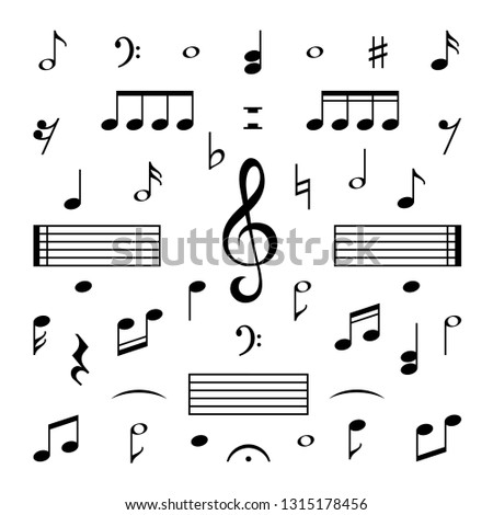 Music notes set. Musical note treble clef silhouette signs vector isolated melody symbols set