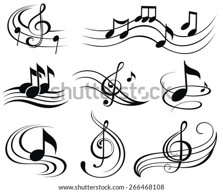 music notes set of music