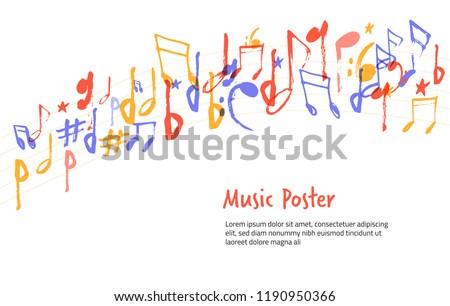 Music notes sign shape. Hand drawn colorful melody symbol sketch silhuette for posters