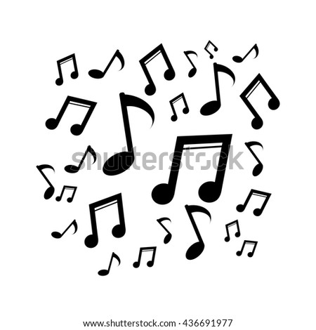 Music notes. Silhouette vector illustration
