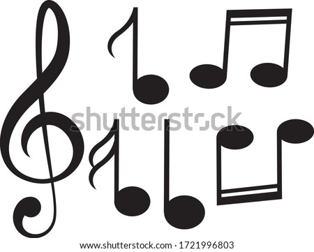 Music notes, song, melody or tune flat vector icon for musical apps and websites.