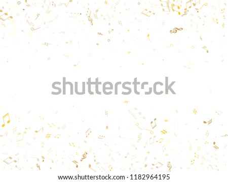 Music notes symbols flying vector background. Notation melody record classic concept. DJ instrument tune background. Gold melody sound notes signs.