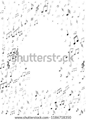 Music notes symbols flying vector design. Notation melody record classic icons. Concert poster background. Monochrome melody sound notation.