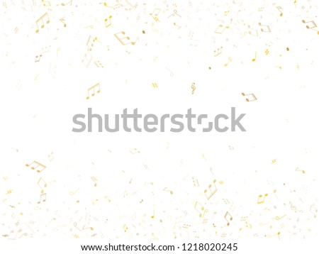 Music notes symbols flying vector design. Notation melody record classic icons. Guitar instrument tune background. Gold metallic melody sound notes signs.
