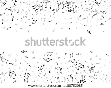 Music notes symbols flying vector design. Notation melody record silhouettes. Song festival background. Monochrome melody sound notes.
