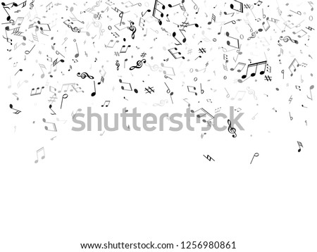 Music notes symbols flying vector illustration. Notation melody record classic elements. Popular music studio background. Grey scale melody sound notes signs.