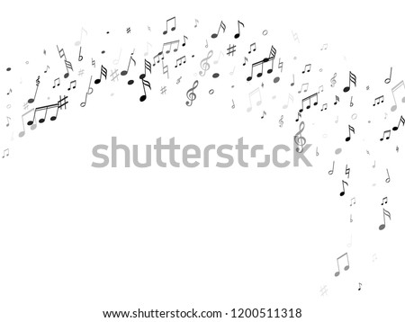 Music notes, treble clef, flat and sharp symbols flying vector background. Notation melody record clip art. Jazz music studio background. Black on white sound recording notes.
