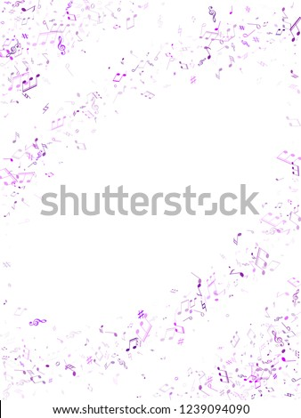 Music notes, treble clef, flat and sharp symbols flying vector background. Notation melody record concept. Tune radio wave background. Ultra violet melody sound notation.