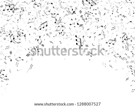 Music notes, treble clef, flat and sharp symbols flying vector background. Notation melody record classic concept. Creative music studio background. Gray scale melody sound notes icons.