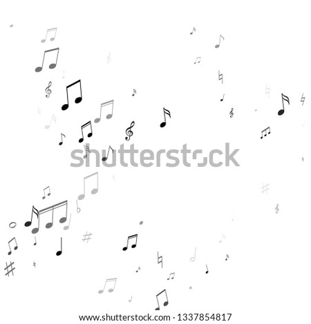 Music notes, treble clef, flat and sharp symbols flying vector background. Notation melody record classic elements. Retro music studio background. Grey scale melody sound notes.