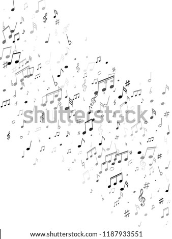 Music notes, treble clef, flat and sharp symbols flying vector design. Notation melody record classic clip art. Bass guitar play background. Black on white sound recording notes.