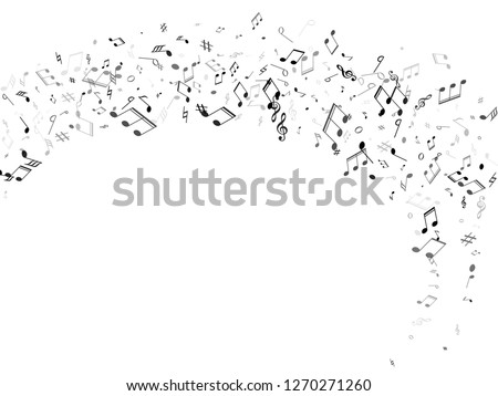 Music notes, treble clef, flat and sharp symbols flying vector design. Notation melody record pictograms. Abstract music studio background. Monochrome melody sound notes icons.