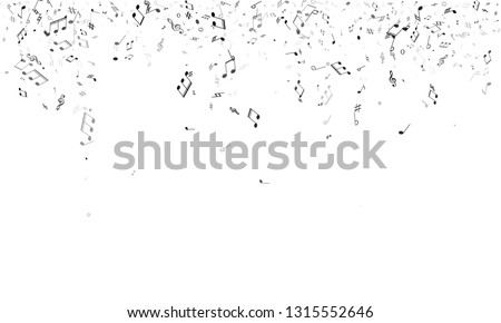 Music notes, treble clef, flat and sharp symbols flying vector design. Notation melody record pictograms. Abstract music studio background. Gray scale melody sound notes signs.