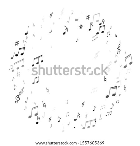 Music notes, treble clef, flat and sharp symbols flying vector design. Notation melody record elements. Pop music studio background. Grayscale musical notation. Photo stock ©