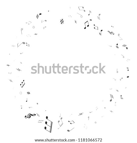 Music notes, treble clef, flat and sharp symbols flying vector illustration. Notation melody record classic signs. Modern music studio background. Black melody sound notes signs.