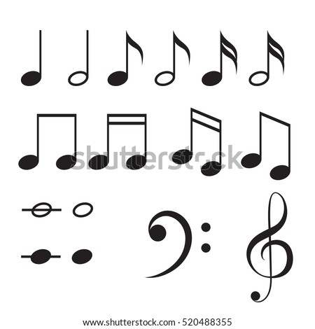music notes vector icon set