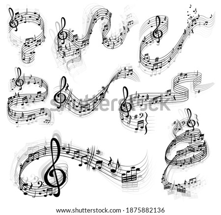 Music notes vector set with swirls and waves of musical staff or stave, treble and bass clefs, sharp and flat tones, rest symbols and bar lines. Sheet music design with musical notation symbols Photo stock ©