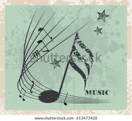 music notes  vintage bstract...