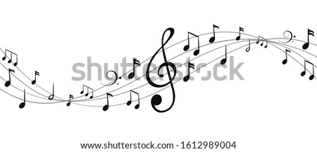 music notes wave isolated