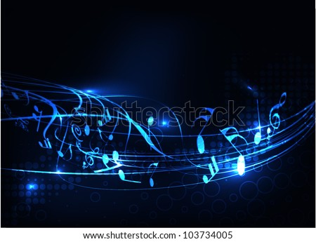 Music notes wave line for design use, vector illustration