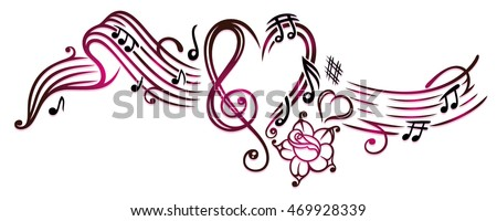 music notes with clef  rose and