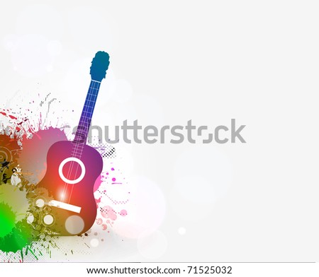 Music notes with guitar player for design use, vector illustration
