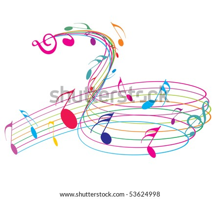 Music notes with rainbow wave line for design use, vector illustration.
