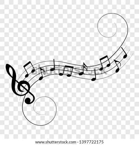 Music notes with swirls, musical design elements, vector illustration.