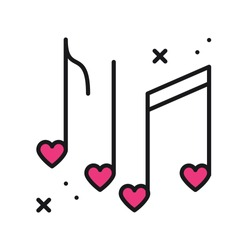 Music of love. Music notes with hearts line icon. Disco, dance, nightlife, club, party theme. Happy Valentine day sign and symbol.