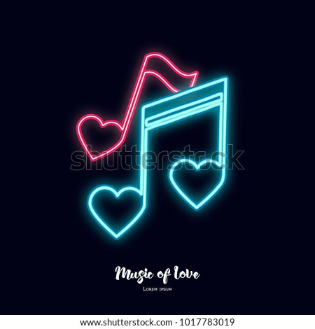 music of love neon notes