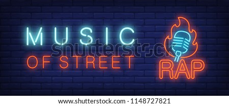 Music of street, rap neon style banner. Text and microphone on fire on brick background. Night bright advertisement. Can be used for signs, posters, billboards