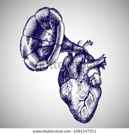 Music of the heart. Hand drawn vector symbolic illustration with a human heart and a gramophone tube.