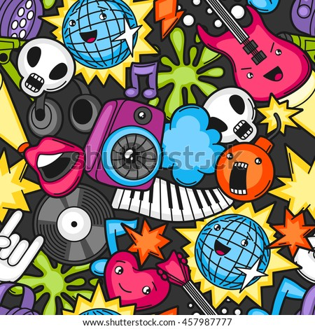 stock vector music party kawaii seamless pattern musical instruments symbols and objects in cartoon style 457987777 - Каталог — Фотообои «Для детской»
