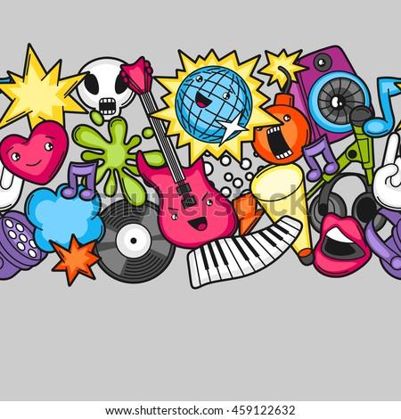 music party kawaii seamless