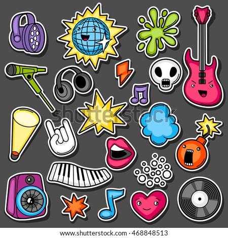 music party kawaii sticker set