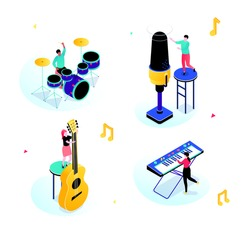 Music party - modern isometric scenes with characters. Happy people, boys, girls playing musical instruments, the guitar, piano, drums, singing with microphone illustration. Hobby, entertainment theme