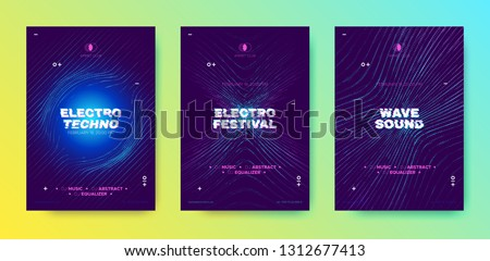 Music Party Poster, Electronic Sound, Abstract Wave Flyer. Technology Background with 3d Neon Circle, Distorted Dotted Lines. Dj Party Event Promotion, Techno Festival. Movement and Illusion Effect.