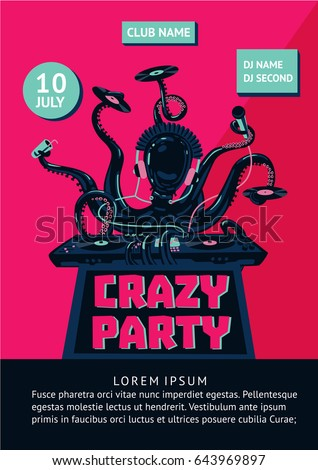 music party poster with octopus