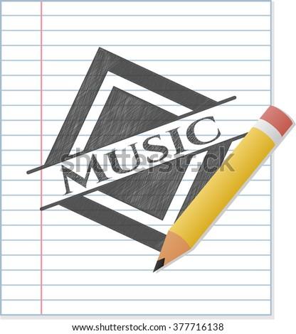 Music pencil emblem