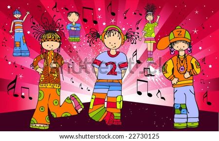 people dancing to music. music people cartoon. grupak