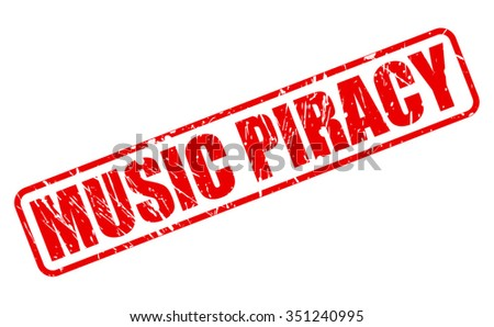 music piracy red stamp text on