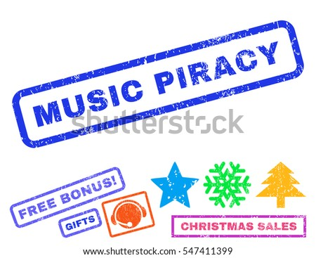 music piracy text rubber seal