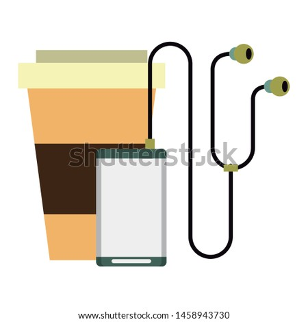 music player and coffee cup and hipsters symbols isolated Vector design illustration
