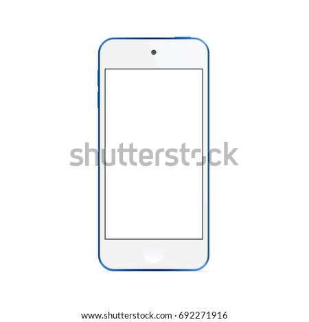 Music player Apple iPod Touch with blank screen isolated on white background - front view. Vector illustration