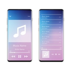 Music player interface application on smartphone, vector illustration