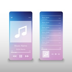 Music player interface application, vector illustration