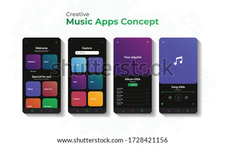 Music player interface by subscription. Profile, Album, Song, Playlist, Explore concept. Black apple or android music screen. Vector illustration eps 10.