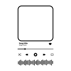Music player interface with buttoms, loading bar, sound wave sign and frame for album photo. Trendy song plaque, template for romantic gift. Vector outline illustration.
