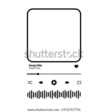 Music player interface with buttoms, loading bar, sound wave sign and frame for album photo. Trendy song plaque, template for romantic gift. Vector outline illustration. Сток-фото ©